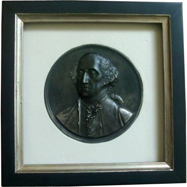 19th century Patinated Steel Plaque Memorial Portrait Bust of George Washington