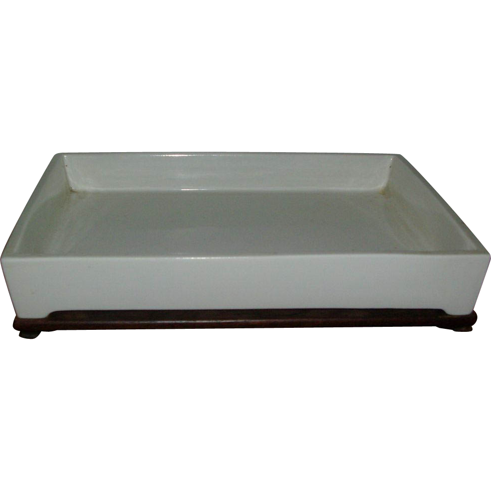 Japanese Ikebana Blanc de Chine Porcelain Planter for Bonsai with Hardwood Stand