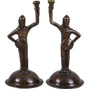 SOLD Antique Pair 19th century Bronze Figural Candlesticks of Tudor Knights in Armor