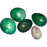 Collection of Five Stone Eggs Malachite & Rock Crystal