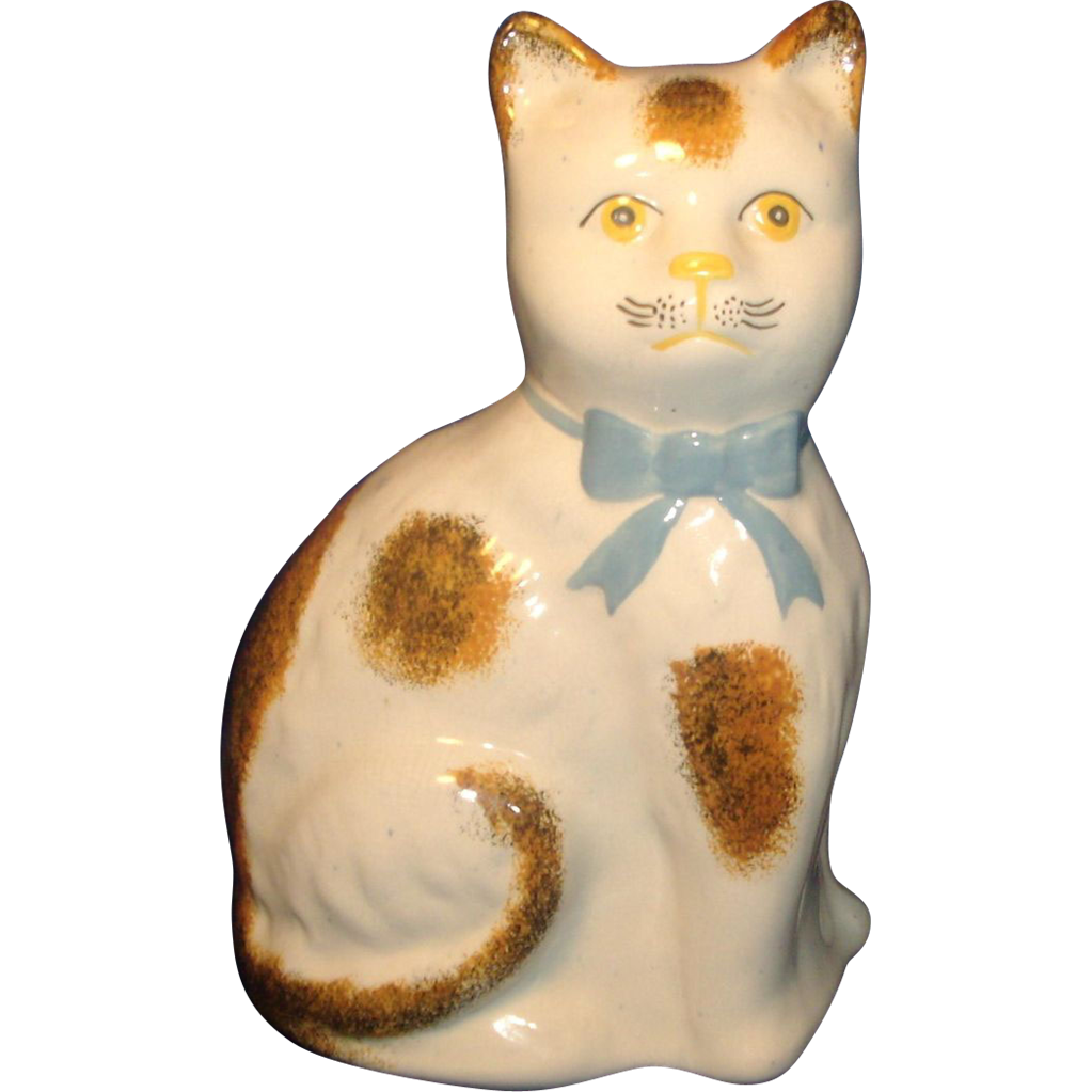 Antique 19th century Staffordshire Pearlware Pottery Cat Figure 1865