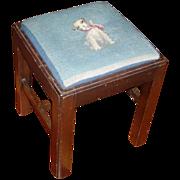 Vintage Georgian Mahogany Square Stool with Blue Dog Needlepoint Cover