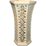 Fine 18th century Leeds Pottery Creamware Reticulated Garniture Vase