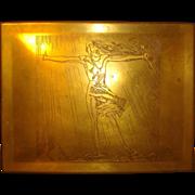 Rare Art Deco Rockwell Kent Brass Cigar Box 1920