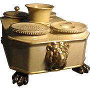 Early 19th c. Wedgwood Regency Creamware or Drabware Encrier Inkwell