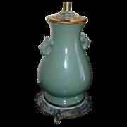 Fine Antique 19th century Chinese Monochrome Porcelain Celadon Vase as Lamp