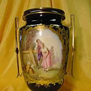 Antique Cobalt Blue Viennese Vase...2 painted Medallions