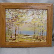 Nice Park Scene Painting...Framed