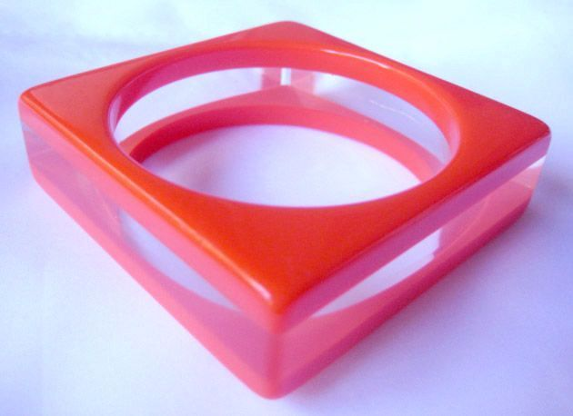 Lucite Bangle Bracelet ,  Orange