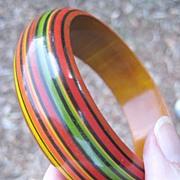 Hand Painted  Wood Bangle - Festive Banded Colors