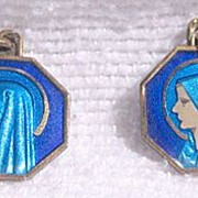Vintage Holy Mary Lourdes Charms, Blue Enamel Double Sided Pictures