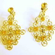 Topaz Rhinestone Clip Earrings, Filigree Gold Tone Drop Panels