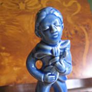 Metlox California Pottery Figurine, Wandering Minstrel Blue Man