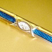 Art Deco Bar Pin,  Swarovski Blue Guilloche & Signed