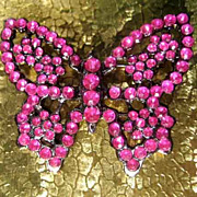 Butterfly Pin Sparkling with Czech-Style Rhinestones - Electric Hot Pink