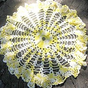 Yellow Crocheted Doily Ruffled 15 Inches Across