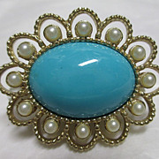Sarah Coventry Magic Moods Pin: Gold-tone Oval with Faux Pearls and Turquoise