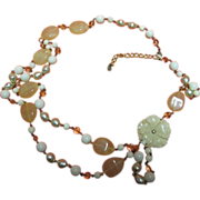 Robert Rose Vintage Pale Yellow, White and Gold-Tone Lucite Necklace or Belt