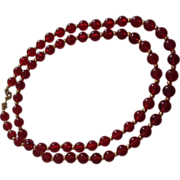 Long Monet Clear Lucite Round Red Bead with Gold-tone Spacers Necklace
