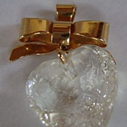 1984 Avon Fabulous Clear Facets Bow And Heart Pendant