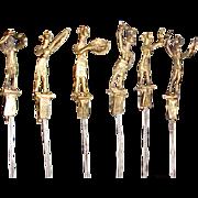 Vintage Folk Art, African Figural Brass BBQ Skewers 1960s