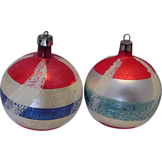 SALE Pair Patriotic Red White & Blue Christmas Ornaments