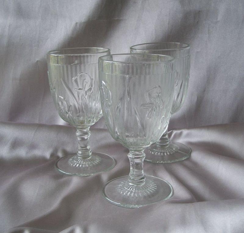 Three Iris And Herringbone Water Goblets