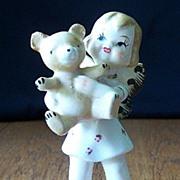 SALE Vintage Child Angel With Teddy Bear Figurine