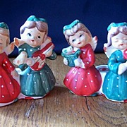 SALE Commadore Ceramic Christmas Candleholders Girls