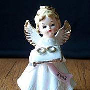 June Angel Holding Wedding Rings Figurine