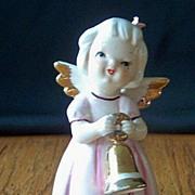 Ceramic Angel Girl Figurine Holding Bell