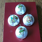 SOLD Pyramid Satin Nursery Rhyme Characters Ornaments