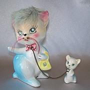 SOLD Vintage Kreiss Ceramic Kitty Cat And Kitten