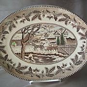 Currier & Ives   Brown Platter Japan