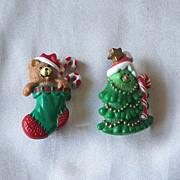 Two Christmas Pins Hallmark Cards