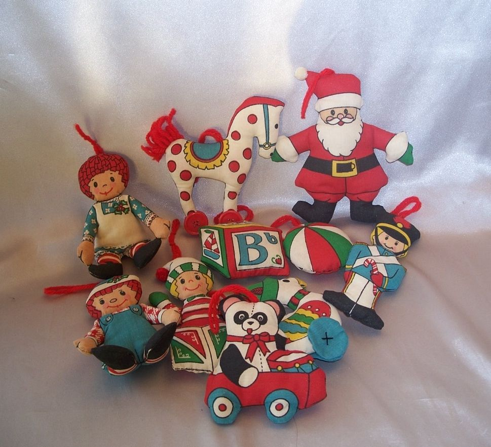 Raggedy Ann and Andy Puffets  and Eight Other  Christmas Fabric Ornaments