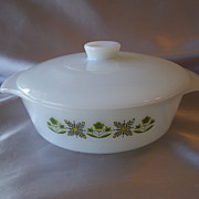 Anchor Hocking Fire King Meadow Green Cover Casserole Dish