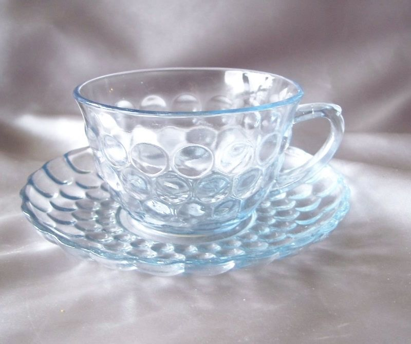 Anchor Hocking Blue Bubble Cup and Saucer Set