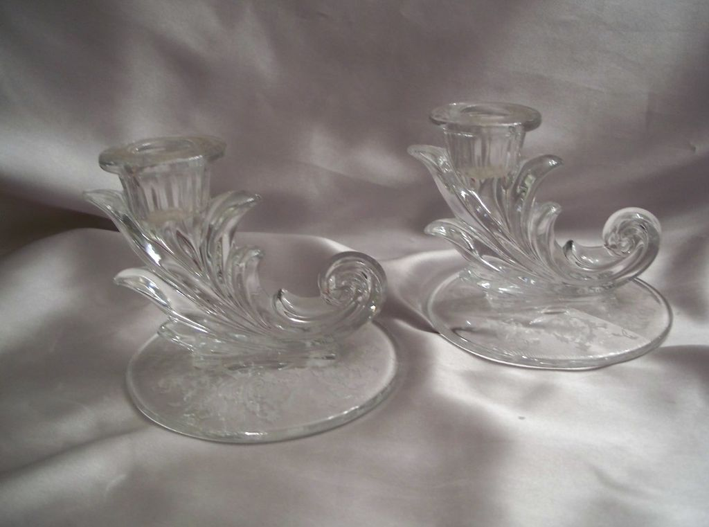Crystal Fostoria Candle Holders Set