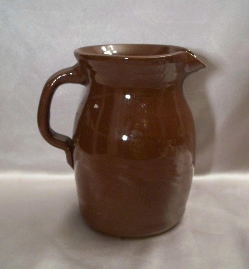 Chocolate Brown Glazed Pottery Pitcher