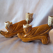 Pair Anna Van Briggle Candle Holders