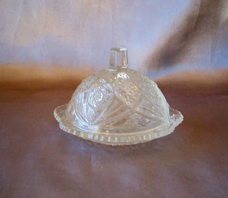 Child's Pressed Glass Butter Dish