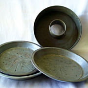 Two Crusty Pie Pan and One New England Pie Pan and Ekcoloy Cake Pan