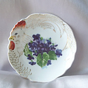 Japan Ceramic Hand Painted Plate Of Chicken