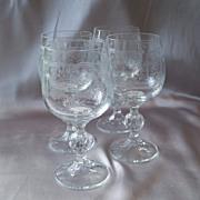 Four Bohemia Cascade Wine Goblets