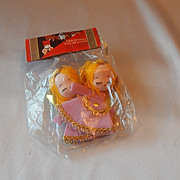 SOLD Two Christmas Tree Pink Angels Decoration by Santa Land
