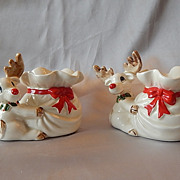SOLD Fitz and Floyd Reindeer Candle Holders