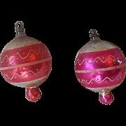 Two Glass Christmas Tree Ornaments