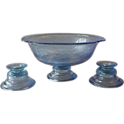 Indiana Glass Blue Recollection Madrid Candle Holders