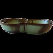 Frankoma Pottery Prairie Green Lazybone Divided Bowl